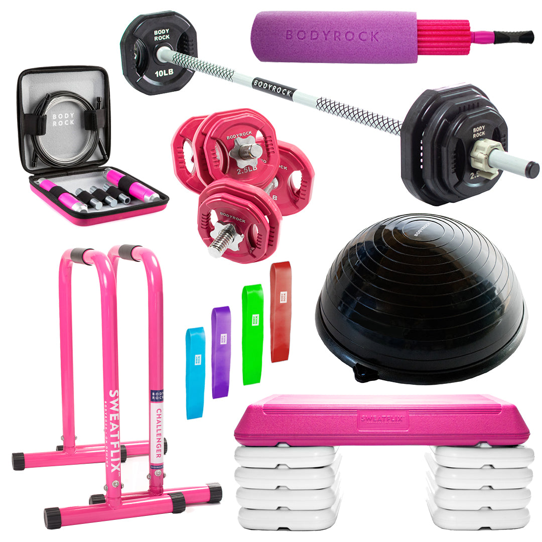 Image of Bodyrock LEG DAY SWAG BUNDLE with images of Weighted Speed Rope, Core Bands, Challenger Bars, Step Riser, Dumbbells , Sculpt Bar, Balance Trainer, 3-in-1 Foam Roller