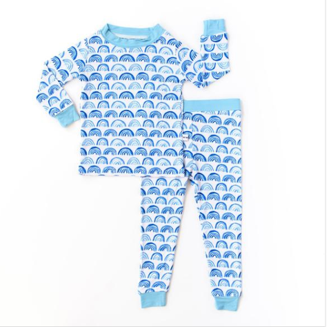 Little Sleepies Blue Rainbow Two Piece Bamboo Pajama Set