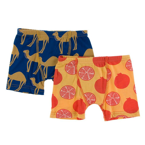 Kickee Pants Boxer Briefs Set Navy Camel and Marigold Pomegranate