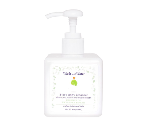 Wash with Water NEW 3-IN-1 SWEETPEA AND ME CLEANSER: Shampoo, Wash and Bubble Bath 8 oz