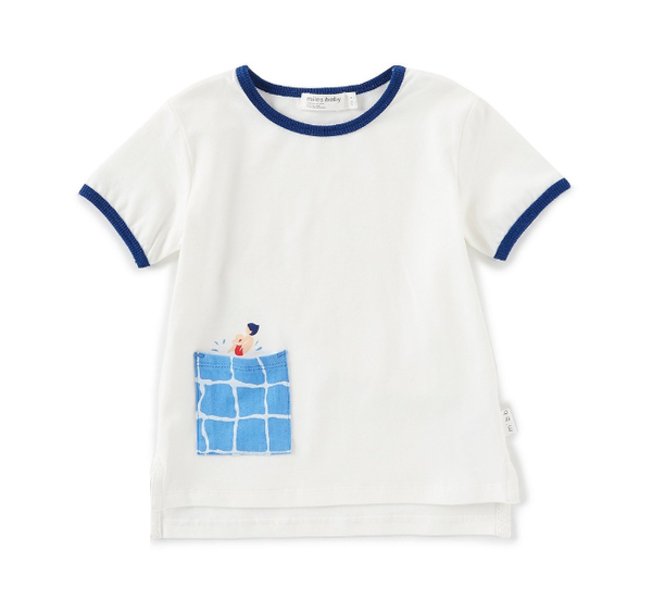 Miles Baby T-Shirt Knit Off White with Blue Pocket