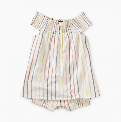 Tea Collection Stripe Smocked Romper Dress Paperwhite