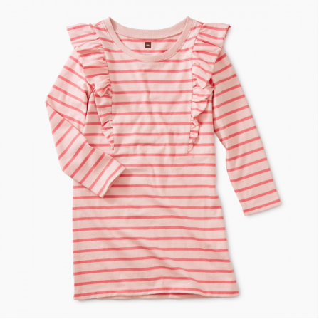 Tea Striped Ruffle Dress Pink