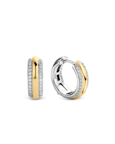 Ti Sento 18ct Yellow Gold Plated Silver & Zirconia Hoop Earrings