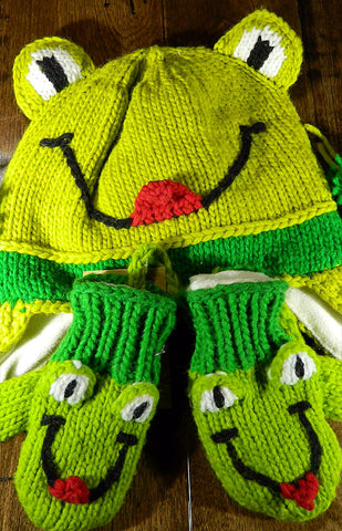 Hat & Mitts - Kids Frog Hat & Mitt Set