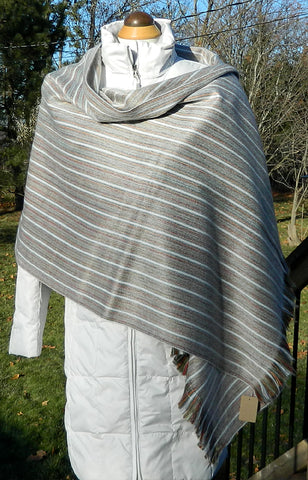 Alpaca Wrap - Grey & White Stripe