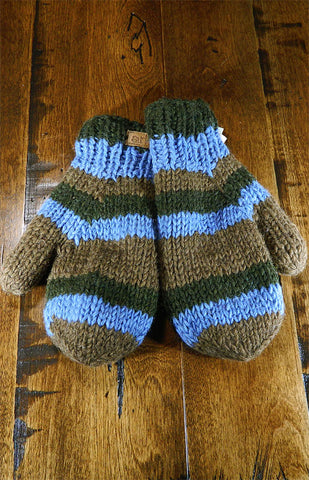 Mittens - Blue & Brown Stripe Mitts