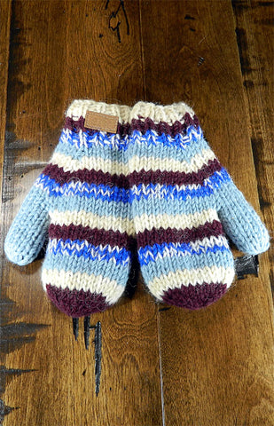 Mittens - Kids Blue & Brown Stripe Mitts