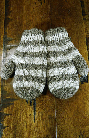 Mittens - Kids Brown & Beige Stripe Mitts