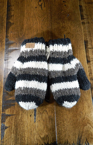 Mittens - Kids Brown & Black Stripe Mitts