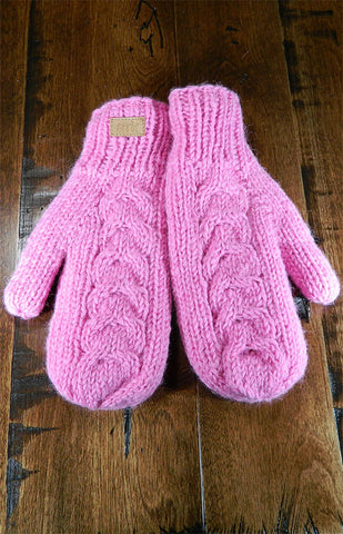 Mittens - Cable Knit Pink Mitts