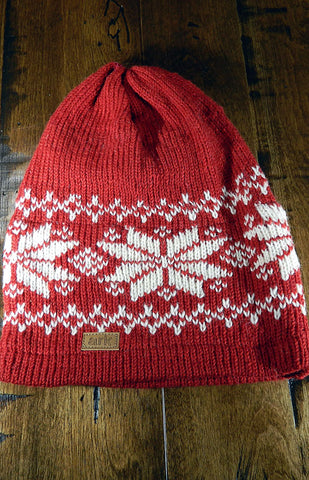 Hat - Red Nordic Slouch Toque