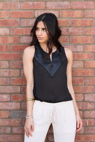 Black Faux Leather Trim Blouse