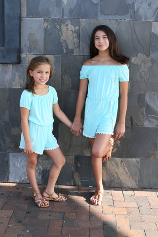 Girls aqua romper