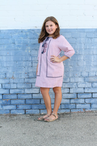 Girls striped shift dress with embroidery