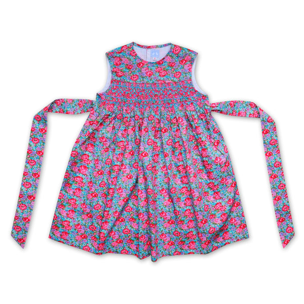 BELLA COLLARLESS PINK AND BLUE FLORAL PRINT SMOCK DRESS