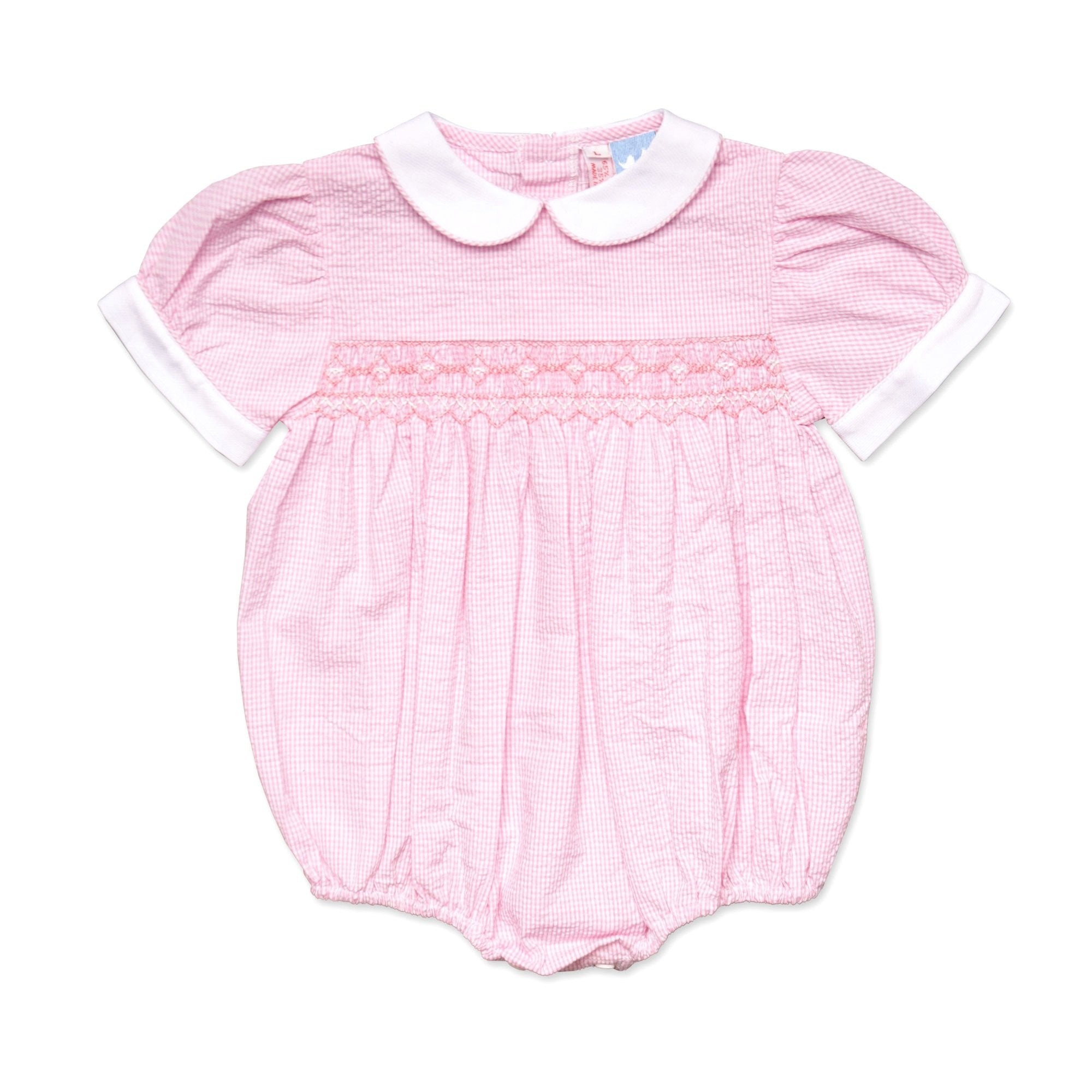 TILLY PINK AND WHITE SMOCKED SEERSUCKER ROMPER