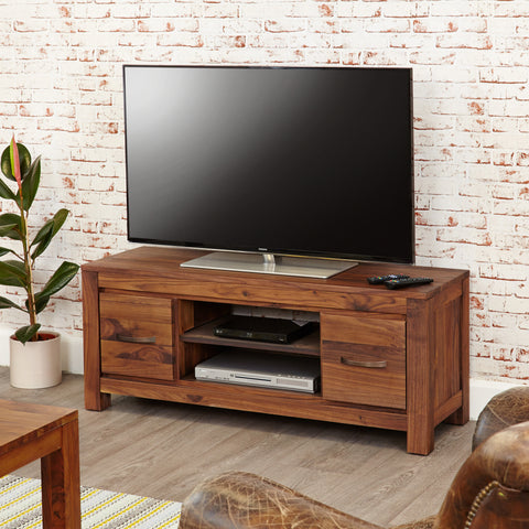 Baumhaus Mayan Walnut Low Widescreen Television Cabinet