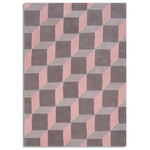 Plantation Rug Co. Geometric Cube Grey and Pink