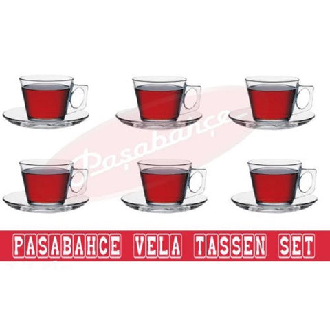 Pasabahce Vela Cups and Saucers, Set of 12, Product of Turkey