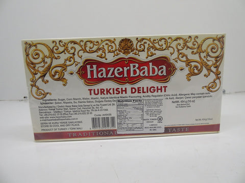 Hazer Baba Turkish Delight, Traditional Gum Mastic Taste, 16oz (454 g)