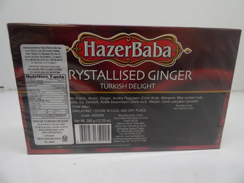 Hazer Baba Crystallised Ginger Turkish Delight, 12.25 oz(350g)