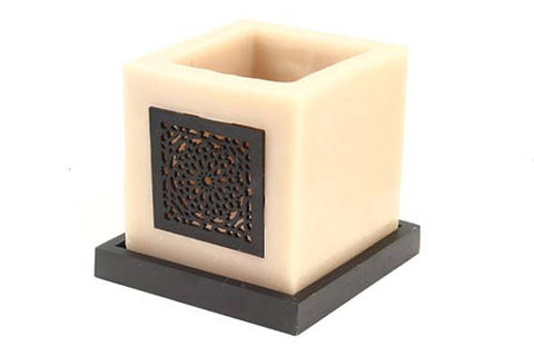 Moroccan Candle Holder with Wood Screen Piece