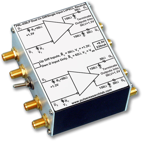 PRL-430LP-SMA-OEM, 2 Channel Differential LVPECL Receiver, SMA Output Connector, No Power Supply