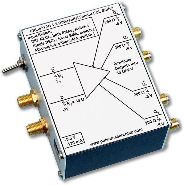 PRL-431AN-SMA-OEM, 1:2 Differential NECL Fanout Buffer, SMA I/Os, No Power Supply