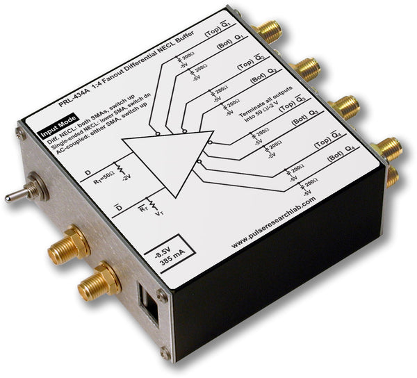 PRL-434A-OEM, 1:4 Differential NECL Fanout Buffer/Line Driver, 3.5 GHz, No Power Supply