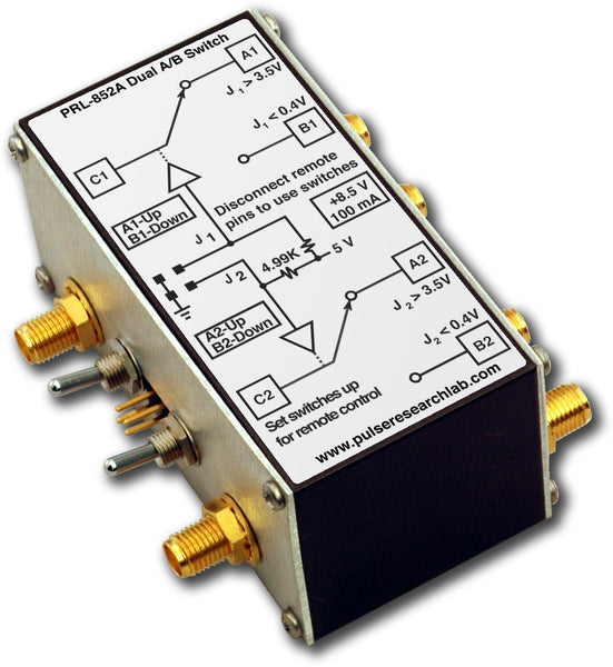 PRL-852A-RM-SMA-OEM, 2 Ch., 2 GHz A/B Switch, Remotely controllable, SMA I/O Connectors, No Power Supply