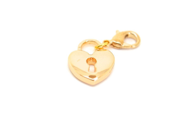 Gold Heart Lock Dangle
