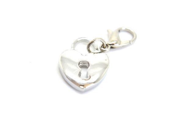 Silver Heart Lock Dangle
