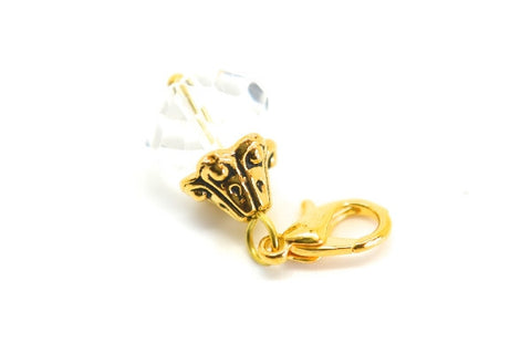 Clear Crystal Dangle in Gold - LOVE K LONDON