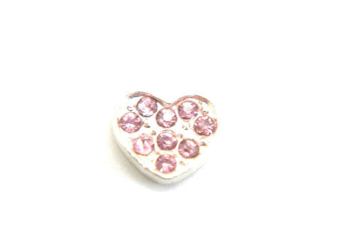 Large Heart with Light Pink Crystals