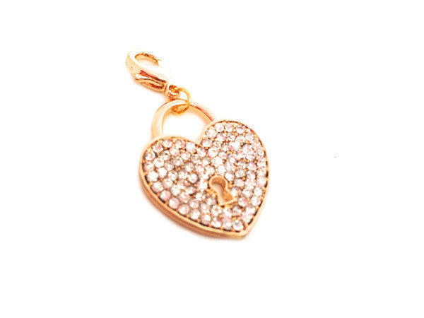 Crystal Gold Heart Lock Dangle