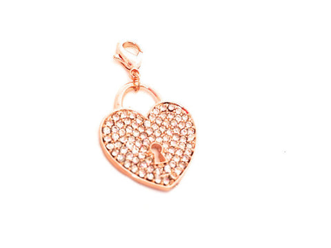 Crystal Rose Gold Heart Lock Dangle - LOVE K LONDON   - 1
