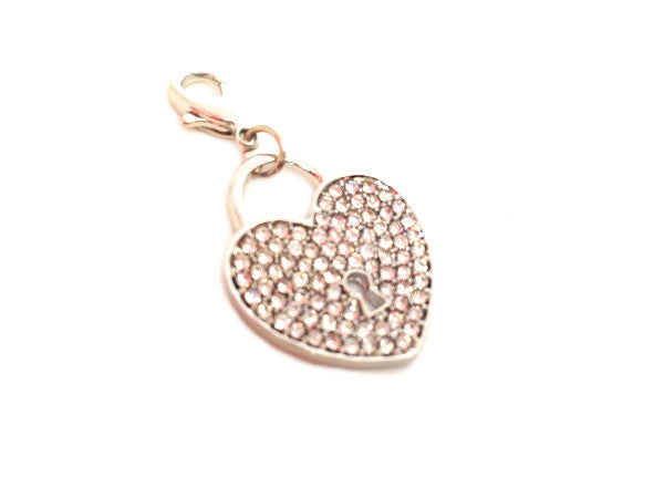 Crystal Silver Heart Lock Dangle