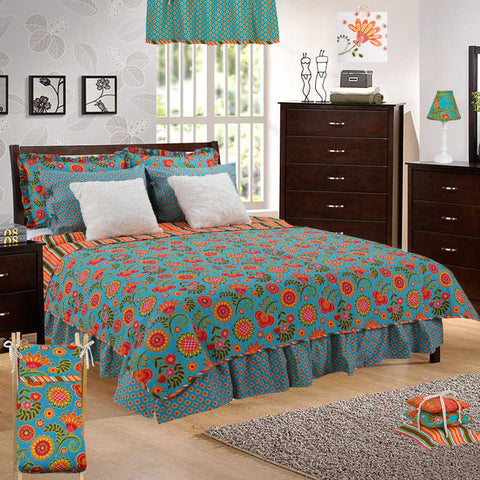 Gypsy Floral 3 Piece Reversible Full/Queen Quilt Bedding Set