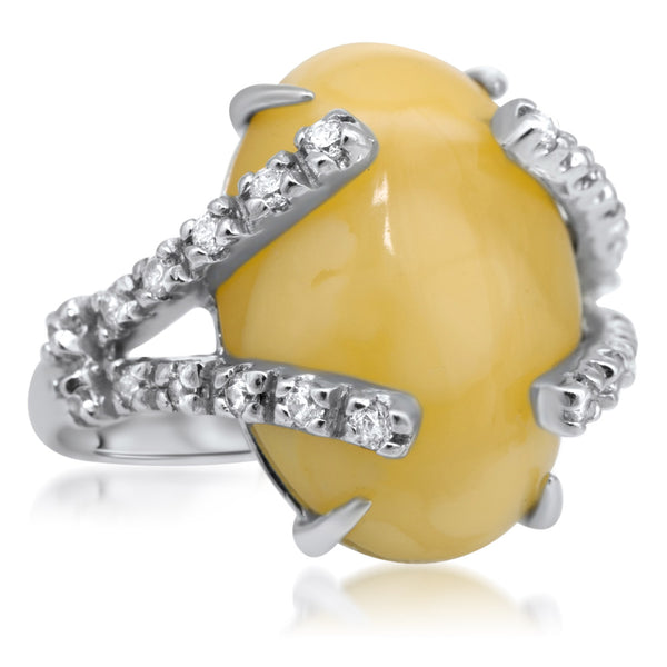 875 Silver Ring with Yellow Amber