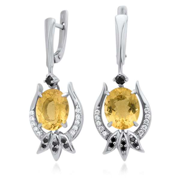 875 Silver Earrings with Yellow Citrine