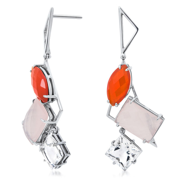 875 Silver Earrings with Pink Quartz, Carnelian, Rock Crystal