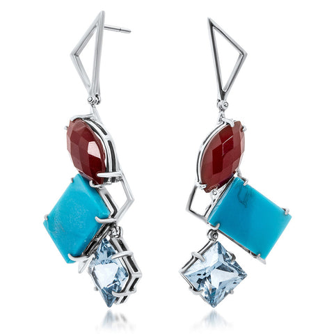 875 Silver Earrings with Carnelian, Turquoise, Blue Spinel