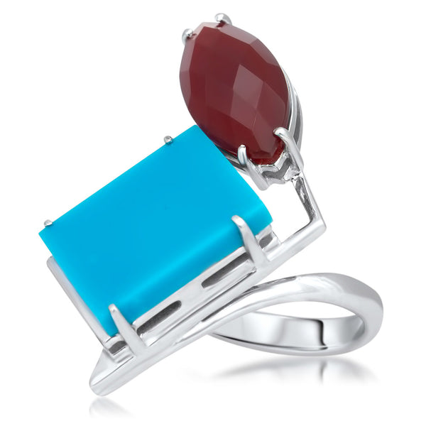 875 Silver Ring with Carnelian, Turquoise