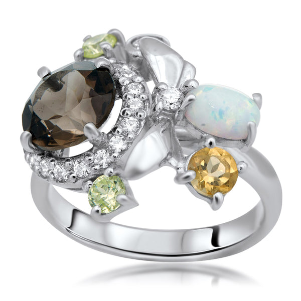 875 Silver Ring with Smoky Quartz, White Opal