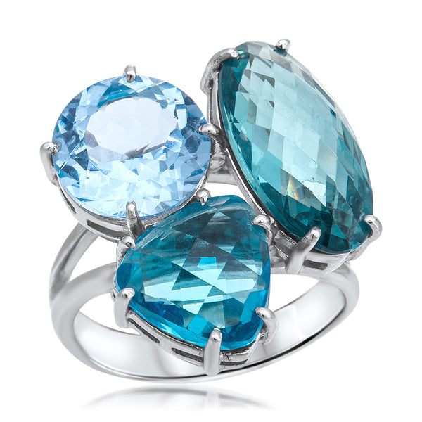 925 Silver Ring with Blue Topaz, Blue Spinel