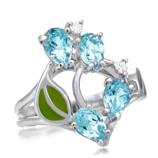 875 Silver Ring with Blue Topaz, Green Enamel