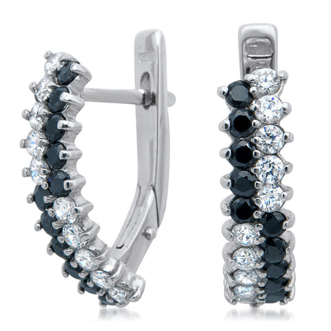 875 Silver Earrings with Black CZ, White CZ