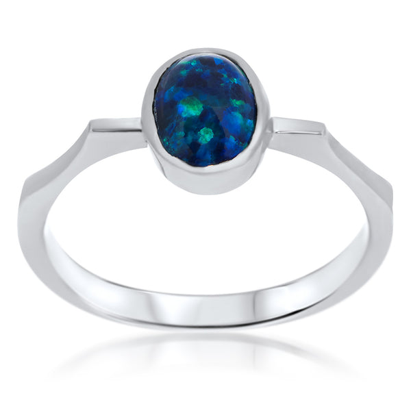 925 Silver Ring with Blue Opal