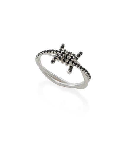 Small silver barbed wire ring with black stones
